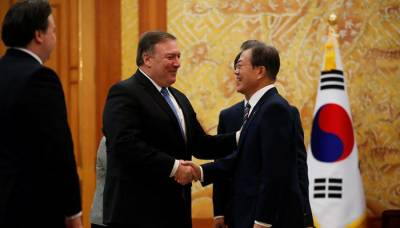 South Korea's Moon meets Pompeo, says world has escaped nuclear weapons threat