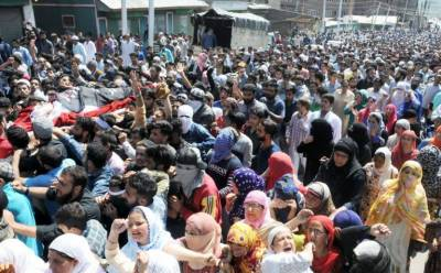 Thousands of people attend funeral prayers of five martyred Kashmiri youth