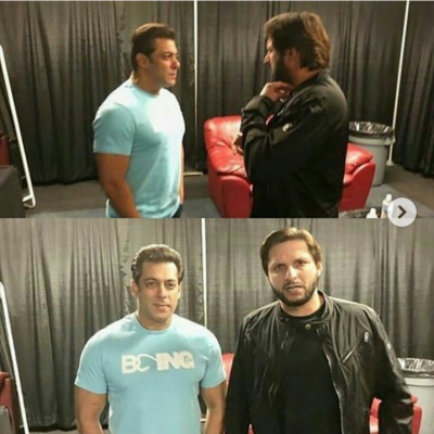 Shahid Afridi spotted with Salman Khan