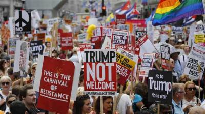 Protest demos held in London against US President