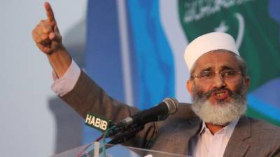 JI Chief SirajHaq hurt as stage collapses in elections campaign
