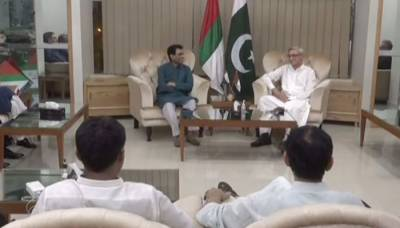 PTI's Tareen calls on MQM-P leaders, seeks support to form govt at Centre