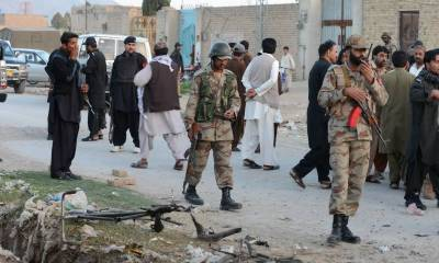 Three security men among five injured in Turbat blast