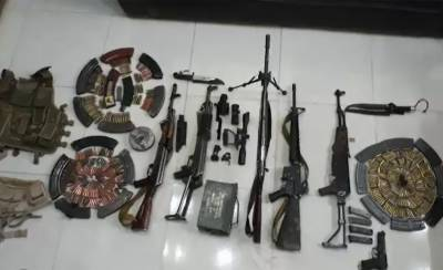 Huge cache of arms and ammunition buried underground recovered by security forces