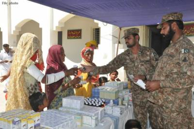 Relief goods presented to families of martyred jawans in Mithi and Badin