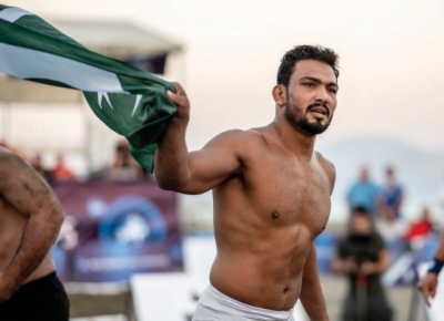 Inam creates wrestling history by winning gold in world beach championship