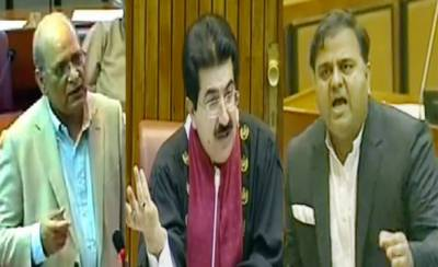 Federal Minister Fawad Chaudhry and PML N Senator Mushahidullah Khan clash in Senate