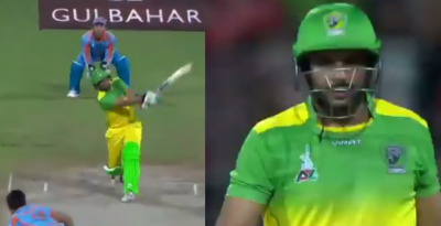 (VIDEO): Shahid Afridi huge six in APL sends ball out of stadium