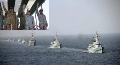Pakistan Navy warships demonstrate fire power show in Arabian Sea