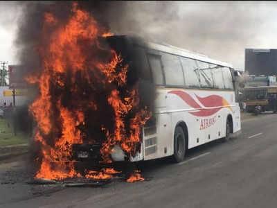 Passenger bus caught fire at M-9