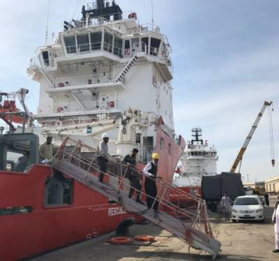 Exxon Mobil supply vessels arrive in Pakistan for offshore drilling off coast Karachi