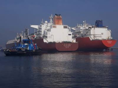 Two LNG ships docked at Port Qasim Karachi