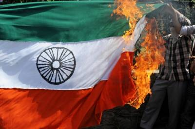Sikhs from across the World burnt Indian flags over Occupied Kashmir state terrorism