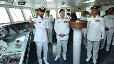 Naval Chief visits naval ships of countries participating in Multi-National Exercise AMAN-2019