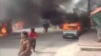Occupied Kashmir: Hindu fanatics torch dozens of vehicles of Muslims