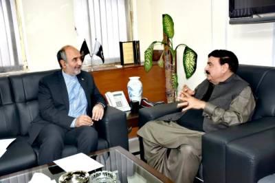 Iranian Ambassador gives an invitation to Railways Minister Sheikh Rashid Ahmed