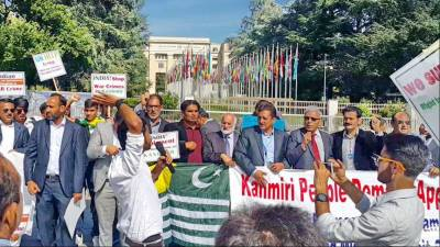 Kashmiris stage protest demo outside Human Rights Commission headquarters in Geneva
