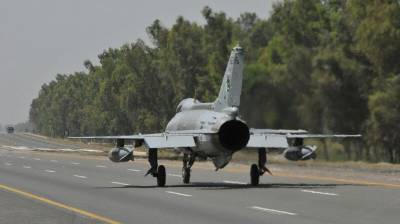 PAF fighter aircraft carries out off-runway operations on motorways, highways