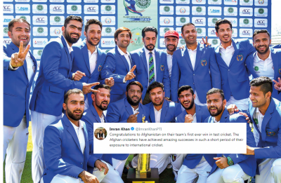 PM Imran congratulates Afghanistan cricket team for its first ever win in test cricket