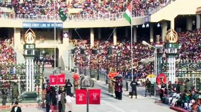 An impressive flag lowering ceremony held at Wagah border