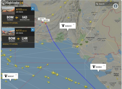 Pakistan opens routes for westbound flights from India