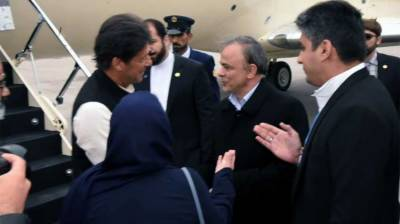 PM Imran Khan lands in Mashhad for a brief stop over before Tehran