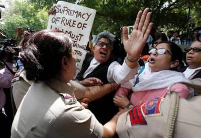 Protests erupt outside Supreme Court in New Delhi