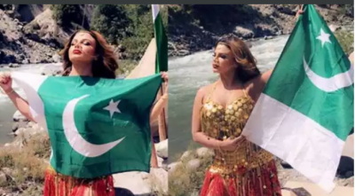 Controversies queen Rakhi Sawant stirred a new storm with her latest pic with Pakistani flag