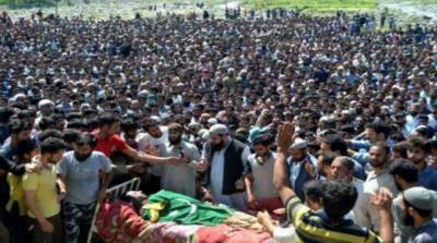 Thousands attend funeral prayers of two martyrs in Kulgam district