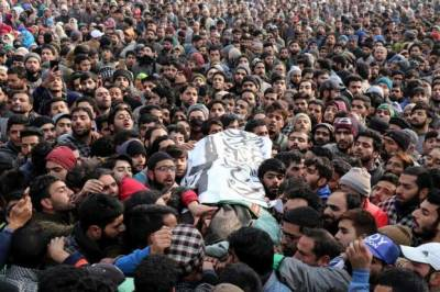 Ocean of people attends funeral prayers of Zakir Musa in Pulwama