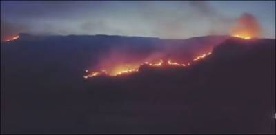 Pakistan Army helicopters start firefighting operation in Karamar mountains