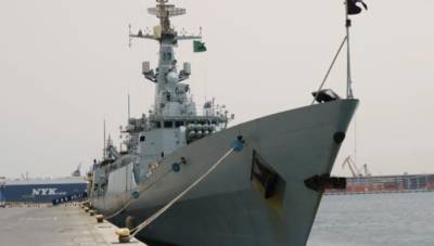 Pakistan Navy warship fitted with state of the art weapons and embarked with helicopters reaches Saudi Arabia
