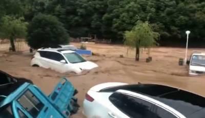 Downpour hits East China : Roads, farmland submerged, vehicles damaged