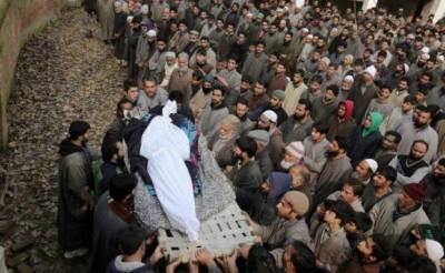 Thousands of people participated in the funeral prayers of martyred Kashmiri youth