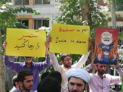 Big protests held outside UN Office in Tehran against India over Occupied Kashmir