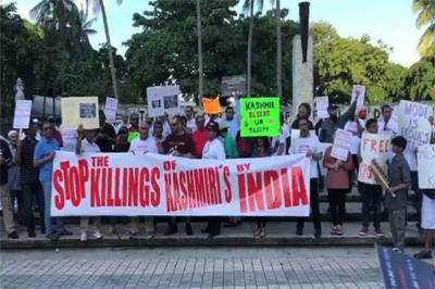 Hundreds of Muslims in Florida held rally in support of Occupied Kashmir against Indian government