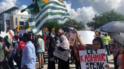 Massive protests outside the stadium in Houston to protest against Indian PM Modi