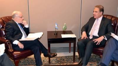 Pakistan FM Shah Mehmood Qureshi meets his Argentinian counterpart
