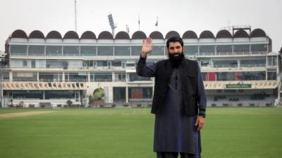 Pakistan's head coach Misbah ul Huq makes an appeal to the International Cricket playing Nations
