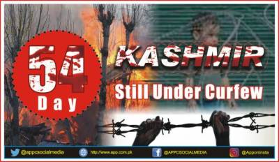 Occupied Kashmir lockdown by Indian Military enters 54th consecutive day