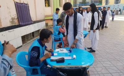What was the voting turn out in Afghanistan presidential elections, Taliban success?