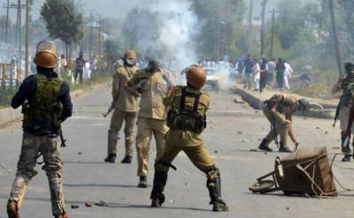 Forceful demonstrations held across Occupied Kashmir despite strict restrictions on Friday