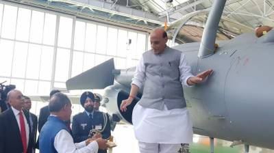 Indian Defence Minister mocked by countrymen on shastra puja 'tamasha' on first Rafale fighter jet from France