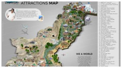 In a first, Pakistani graphic designer makes tourist map of Pakistan depicting top 70 tourist spots in Pakistan