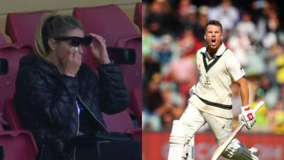 Australian Opener David Warner's wife breaks into tears during Match against Pakistan