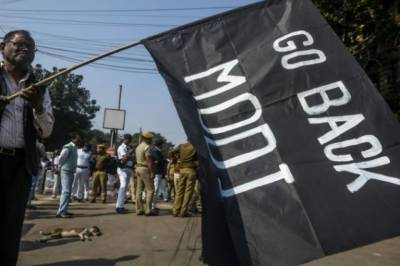 Indian Police baton charged protesters to stop them from reaching PM Modi cavalcade