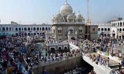 Delegation of 45 senior military officers from 45 countries visit Gurdwara Panja Sahib in Hasan Abdal