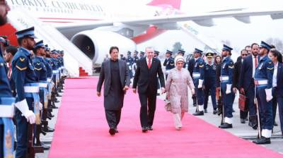 Turkish President Tayyip Erdogan given Red Carpet welcome and reception by PM Imran Khan upon arrival at Islamabad Airport
