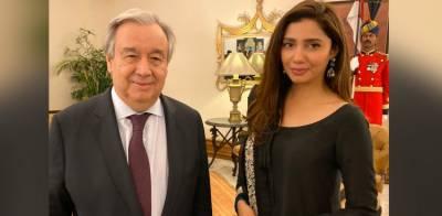 UN Chief Antonio Guterres is all praise for Pakistan's first ever UNHCR Goodwill Ambassador Mahira Khan