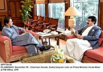 Senate chairman meets PM; presents Rs3.2 million cheque for COVID-19 Fund july 10, 2020
